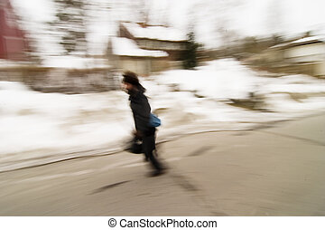 Running in Motion Blur - A motion blur image of a man...