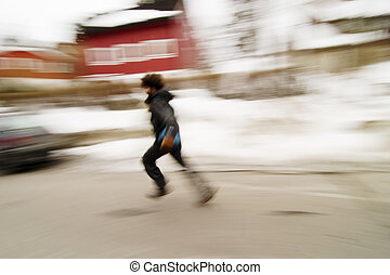 Running Blur Concept - A motion blur abstract of a person...