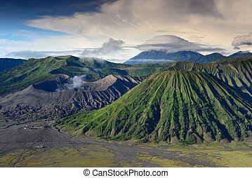 landscape of Lenticular cloud on top of Volcanoes in Bromo...