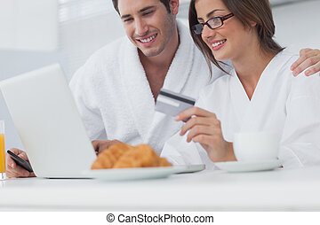 Couple purchasing online