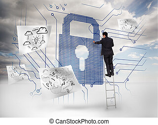 Businessman on a ladder selecting a giant padlock with...