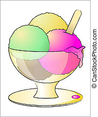 Ice cream in a bowl - Illustration of a delicious colorful...