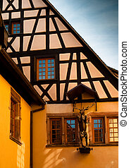 Yellow Hunting Lodge in Alsace - Traditional timber frame...