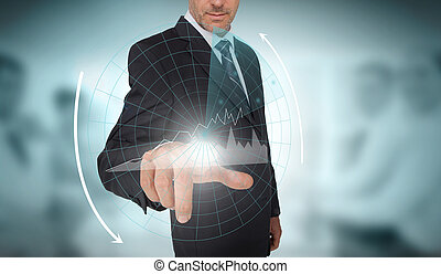 Businessman selecting a futuristic interface with arrows and...