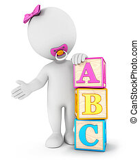 3d white people baby with blocks