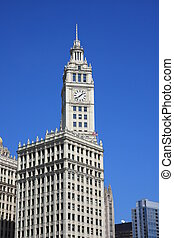 Blue sky and the Wrigley Building - Blue sky frames the art...