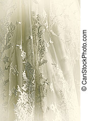 Wedding Gown - Close up of vintage white wedding gown