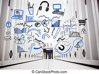 Employees in a data center standing in front of drawings of...