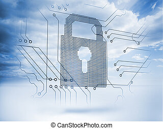 Giant padlock with blue sky on the