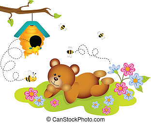 Teddy bear admiring beehive - Scalable vectorial image...