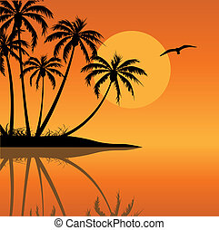 Tropical Island with Bird and Sun