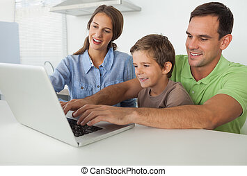 usando,  laptop, pai, filho