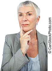 Thinking woman looking away on white background