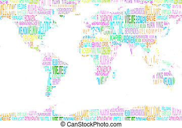 Map showing welcome in different languages