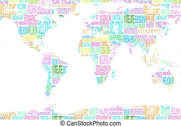 mapa, actuación, bienvenida, diferente, idiomas