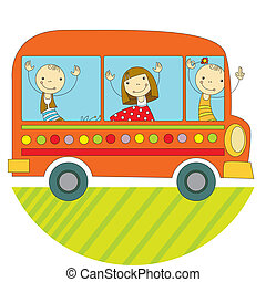Travel by bus - children travel by bus around the world