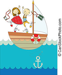 trip on a yacht - a boy and a girl traveling on a yacht on...