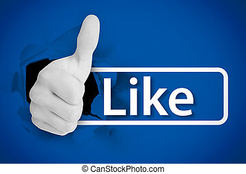 White thumb up tearing a canvas with the like from social networks