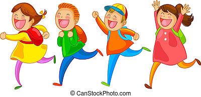 school kids running happily