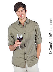 Handsome man with wine glass