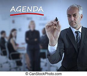 Sofisticado, hombre de negocios, underlining, rojo, palabra,...