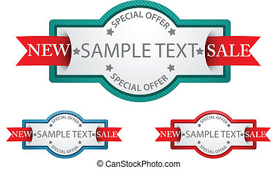 Labels with ribbon commercial sign - Vector Illustration Of...
