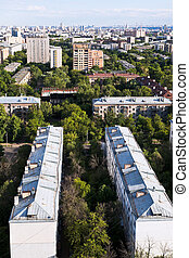 Moscow city districts in summer afternoon - above view of...