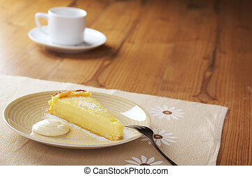 lime tart - Home made icing sugar topped lime tart with...