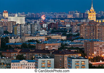 Moscow city skyline at dusk