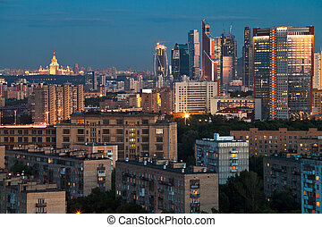 blue twilight over Moscow city - late summer blue twilight...