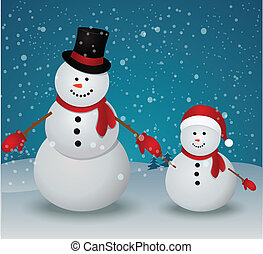 snowman family in Christmas winter