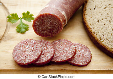 Garlic sausage   - Garlic sausage on crust bread