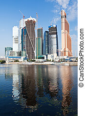 Moscow City buildings and Moskva River in summer sunny day