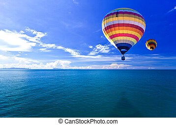 Hot air balloon on Sea and island Samui Thailand