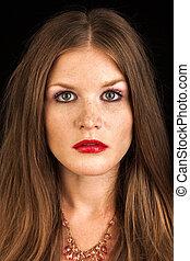 hermoso, maquillaje, joven, retrato, pelirrojo, fresco,...