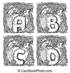 retro mermaid alphabet - a, b, c, d