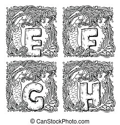 retro mermaid alphabet - e, f, g, h