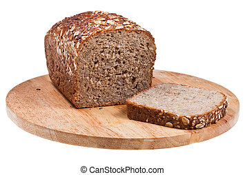 grain bread loaf and sliced piece - grain bread loaf and...
