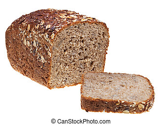 grain bread loaf and sliced hunch of bread isolated on white...
