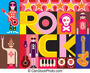 Rock and Roll. Musical collage - pop art vector illustration...