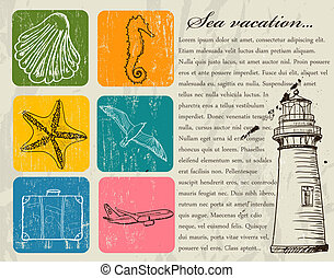 Vintage set of sea travel icons. Vector illustration EPS8