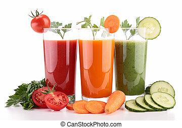 surtido, vegetal, jugo