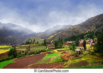 Peruvian agriculture on high mountains