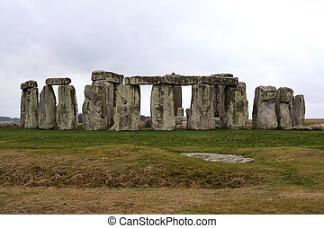 Stonehenge in Winter with Gray Skies
