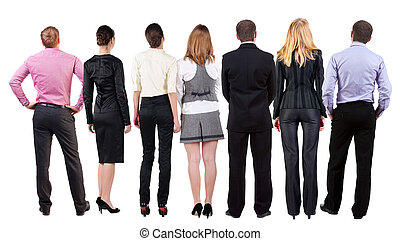 Back view of  business team looks