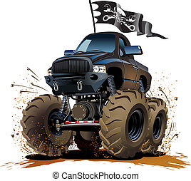 Cartoon Monster Truck - Vector Cartoon Buggy Available...
