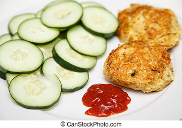 Crab Cakes and Cucumbers with Cocktail Sauce