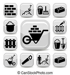 bricklayer icons - Elegant Bricklayer Icons Set Created For...