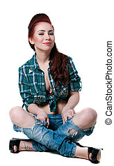 Pretty cowgirl style - Pretty young woman model with long...