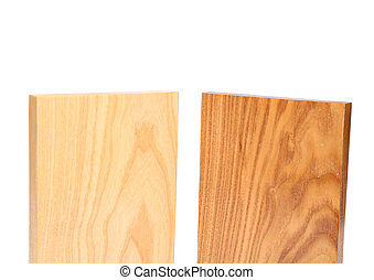 Top two wooden plank close-up are located on the white...